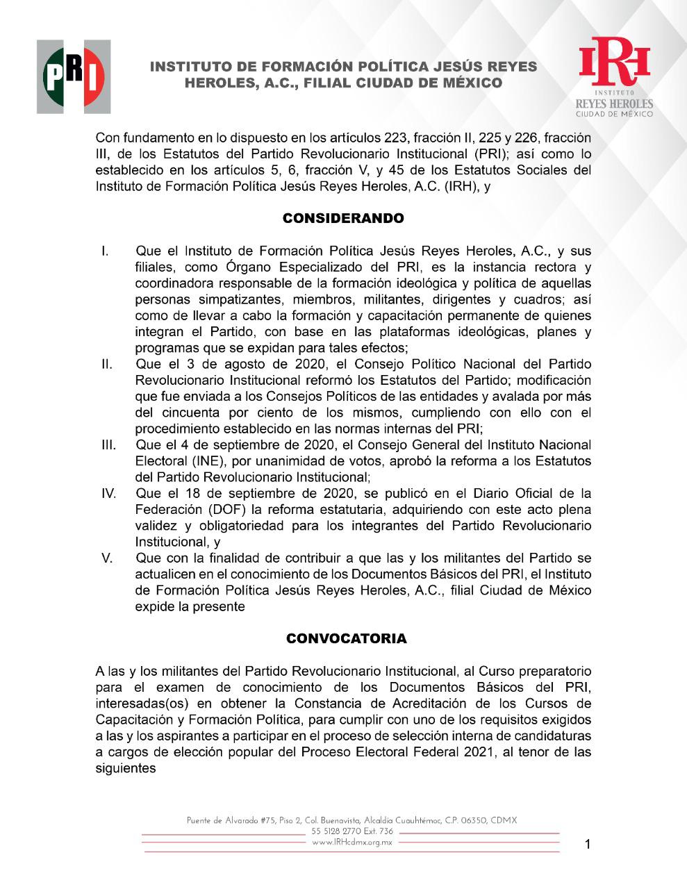 CONVOCATORIA A LAS Y LOS MILITANTES DEL PARTIDO REVOLUCIONARIO INSTITUCIONAL AL CURSO PREPARATORIO PARA EL EXAMEN DE CONOCIMIENTO DE LOS DOCUMENTOS BÁSICOS DEL PRI.