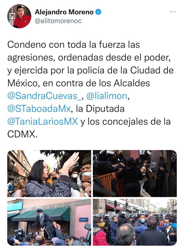 CONDENA ALEJANDRO MORENO AGRESIÓN A ALCALDES DE OPOSICIÓN EN CDMX