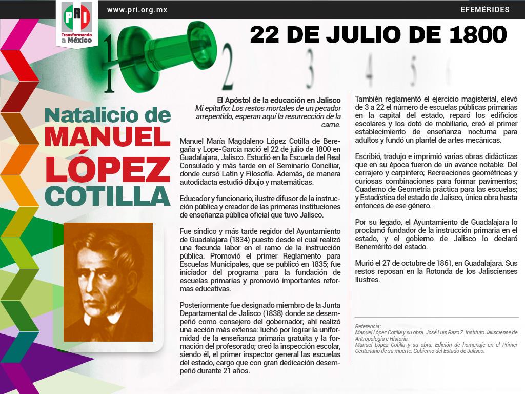 22 DE JULIO DE 1800. NATALICIO DE MANUEL LÓPEZ COTILLA