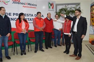 CARLOS ORTEGA Y ALEJANDRA HERRERA RINDEN PROTESTA COMO DIRIGENTES DE LA RED DE JÓVENES X MÉXICO EN AGUASCA...