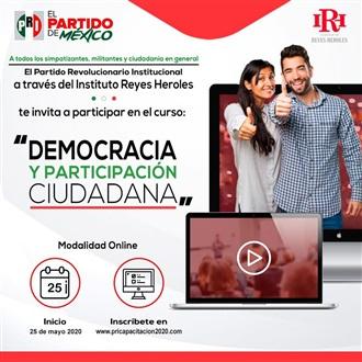INVITA EL PRI A CURSO SOBRE DEMOCRACIA Y PARTICIPACIÓN CIUDADANA