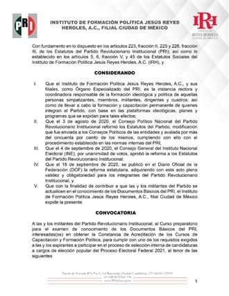CONVOCATORIA A LAS Y LOS MILITANTES DEL PARTIDO REVOLUCIONARIO INSTITUCIONAL AL CURSO PREPARATORIO PARA EL...