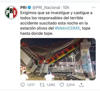 EXIGE PRI INVESTIGACIÓN Y CASTIGO A RESPONSABLES DEL ACCIDENTE DE LA L12 DEL METRO DE CDMX