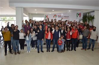 CARLOS ORTEGA Y ALEJANDRA HERRERA RINDEN PROTESTA COMO DIRIGENTES DE LA RED DE JÓVENES X MÉXICO EN AGUASCA... width=