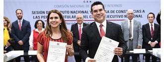 RECIBEN CONSTANCIA DE MAYORÍA ALEJANDRO MORENO Y CAROLINA VIGGIANO COMO NUEVOS DIRIGENTES DEL PRI width=