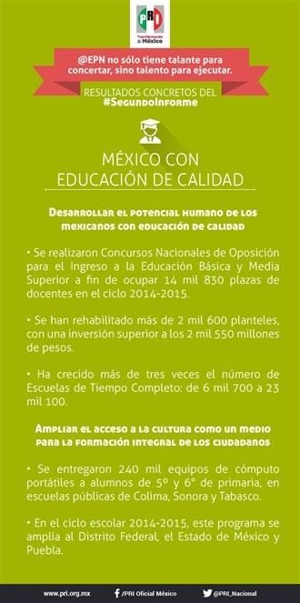 SEGUNDO INFORME EPN. MÉXICO CON EDUCACIÓN DE CALIDAD