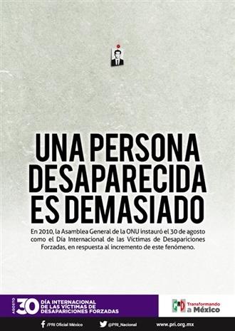 30 DE AGOSTO. DÍA INTERNACIONAL DE LAS VÍCTIMAS DE DESAPARICIONES FORZADAS